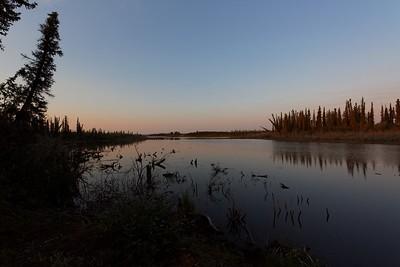 Arctic lake at sun rise