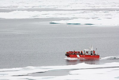 The launch sampling the ice