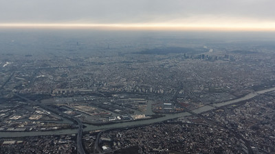 Flying over Paris - The Eiffel tower in the distance - Fab 2012