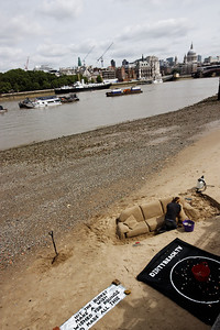 Sand artists on the bank of the Thames - London June 2013