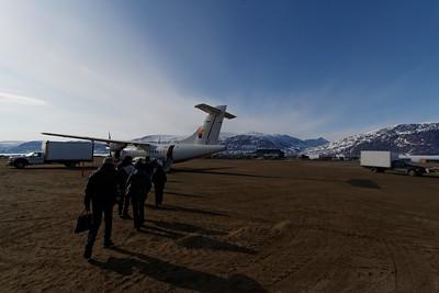 Boarding the plane in Peng