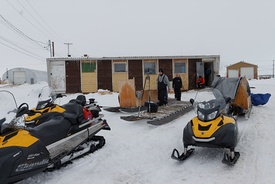The coffee shop and the skidoo convoy