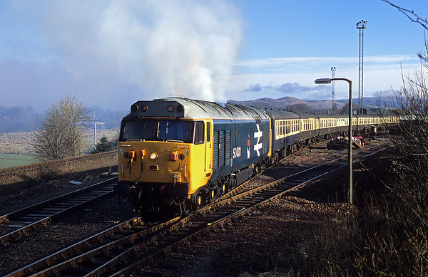 50031 bursts into life in Fort William yard, ready to form 5Z24 ecs to station 06/03/05