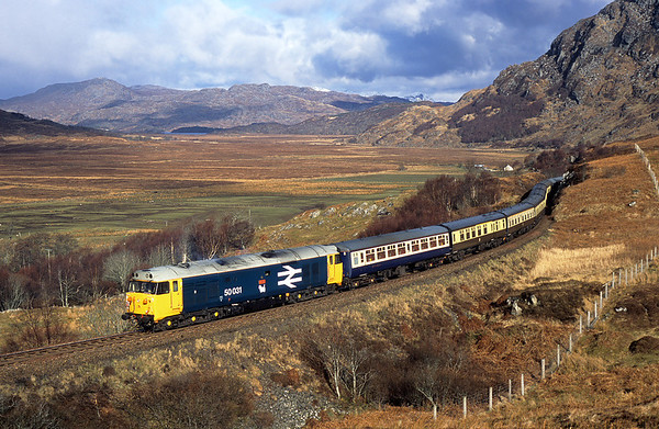 One of my favourite phots of all time 50031 passes Kinloid on 5Z24 12:36 Mallaig-Arisaig-Mallaig stock shunt 05/03/05