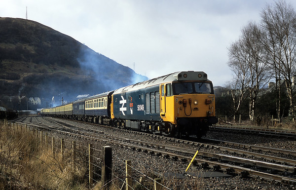 Preparing for the days adventures, 50049 stands in Fort William yard waiting to tail 5Z23 ecs to the station 05/03/05
