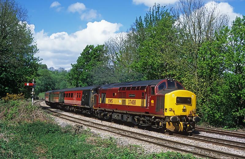 37408 heads away from Ystrad Mynach on 2F30 13:15; Rhymney - Cardiff Central, 07/05/05