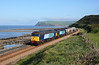 Just as the sea fret lifts 57007 + 57011 head away from St Bees towards Coulderton on 6C22 0640 Carlisle Kingmoor-Sellafield, conveying 2 flasks from Torness and the larger naval flask off repair at Kingmoor, 31/05/13