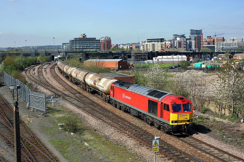 60063 passes Holbeck depot on 6D80 14:05 Neville Hill - Lindsey empty tanks, 22/04/15