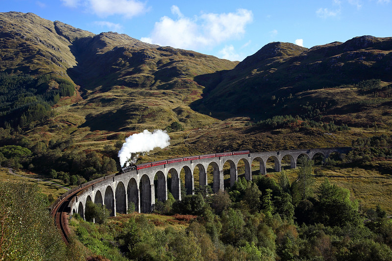 This made the 3am alarm call worthwhile<br /> 44871 crosses the magnificent Glenfinnan viaduct on 2Y61 10:15 Fort William - Mallaig 'Jacobite' 01/10/16