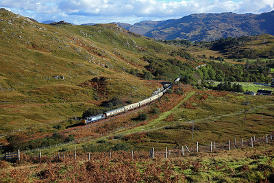 37612 climbs away from Morar on 1Z53 13:25 Fort William - Mallaig 'Autumn Highlander' 01/10/16 This was our second attempt at this train, we were cruelly done by cloud at Loch Dubh