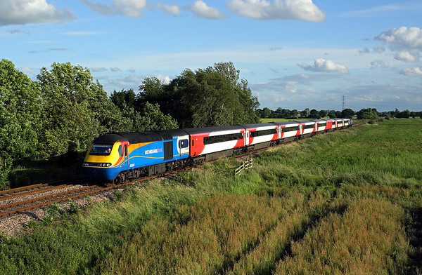 EMT power car on hire to East Coast, 43061 passes Burn airfield on 1H10 17:19 LKX - Hull, 08/07/16