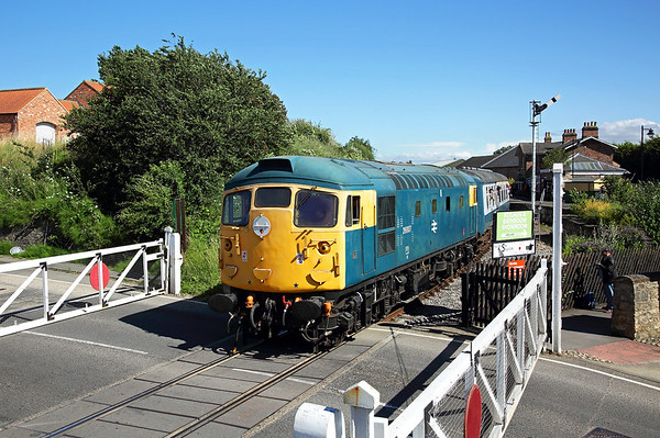 26007 heads away from Bedale station on the 16:00 Leeming Bar - Redmire, 16/07/16