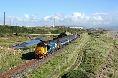 37402 runs alongside the river Ehen at High Sellafield on 2C34 1435 Carlisle - Barrow in Furness, 30/08/17 *Taken using a pole