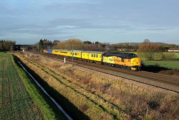 37175 passes Burn on 3Z01 10:00 Heaton - Derby RTC, 01/12/17 *Taken using a pole