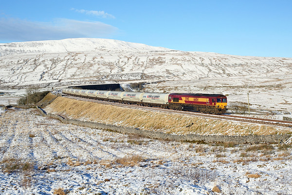 66104 passes Ribblehead on 4M00 07:02 Mossend - Clitheroe empty cement, 11/12/17