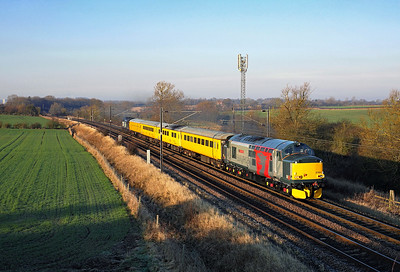 My first shot of a Europheonix liveried loco 37608 heads along the ECML past Ricknall Grange on 1Q05 06:12 Derby RTC - Tees Yard, 23/01/17