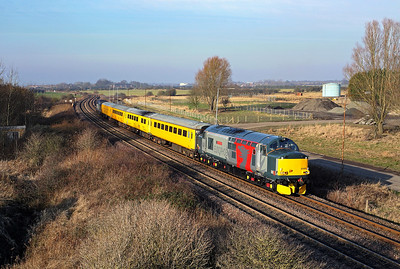 Europheonix liveried 37608 nears Freemans LC, Cambois on 1Q05 06:12 Derby RTC - Tees Yard, 23/01/17
