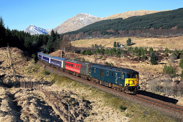 With the train booked a 65 minute stop at Dalmally we wandered round for shot number 2. 73968 passes the gallery at Dalrigh on 5Y11 10:30 Oban - Polmadie ecs, 25/03/17 *Taken using a pole