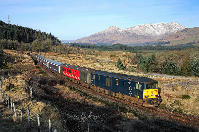 73968 passes Succoth Lodge on the rear of the diverted 1Y11 04:50 Edinburgh -<br />  Oban 'Caledonian sleeper' 25/03/17