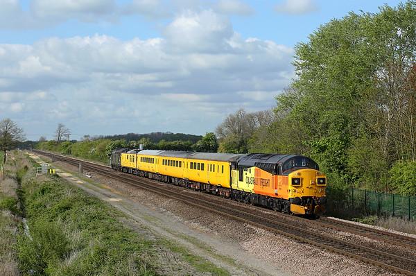 37099 nears Sherburn in Elmet station on 1Q64 08:53 Derby RTC - Doncaster via Lincs & Yorks, 01/05/17 *Taken using a pole