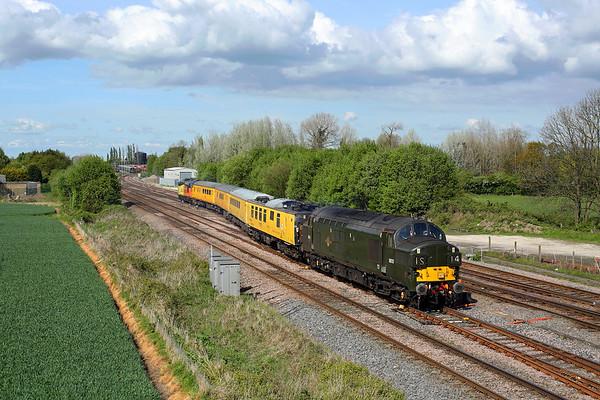 37057 crosses Milford Jn on 1Q64 08:53 Derby RTC - Doncaster via Lincs & Yorks, 01/05/17 *Taken using a pole