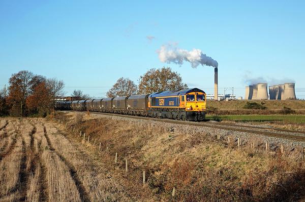 66765 passes Heck Ings on 6H12 06:25 Tyne Dock - Drax PS coal, 30/11/17