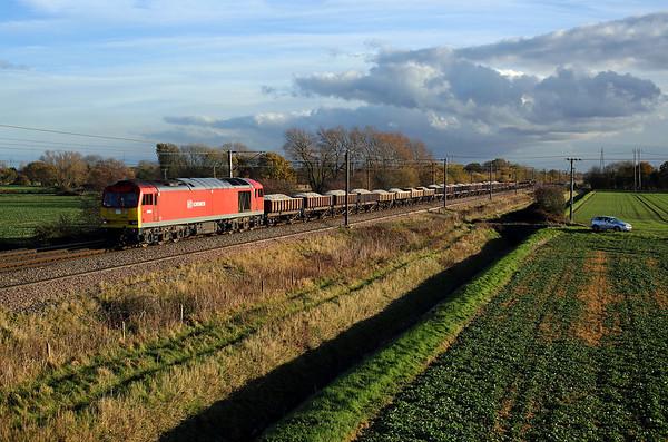 60054 nears Burn on 6G70 13:29 Doncaster Decoy - Tyne Yard engineers, 16/11/17