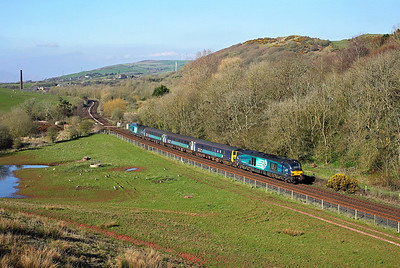 My first phot of the new order on the Cumbrian Coast.  68004 nears Park South junction on 2C34 1:433 Carlisle - Barrow in Furness, 14/04/18
