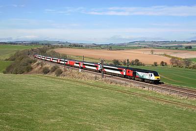 NRM liveried 43274 passes Horn Burn on 1E13 07:55 Inverness - LKX, 19/04/18