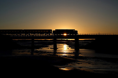 As the sunsets over Ravenglass 37403 spproaches on 2C34 14:35 Carlisle - Barrow in Furness, 01/02/18