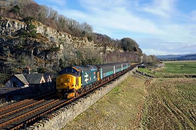 37402 passes Meathop on 2C47 10:04 Preston - Barrow in Furness, 01/02/18