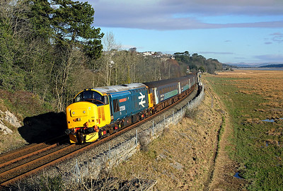 A very clean 37424 (37558) heads away from Kents Bank on 2C47 10:04 Preston - Barrow in Furness, 02/02/18 *Taken using a pole