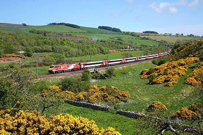 91131 passes Houndwood on 1S09 09:00 LKX - Edinburgh, 16/05/18