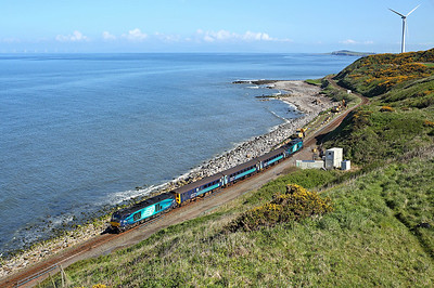 68004 passes Lowca on 2C40 08:42 Carlisle - Barrow in Furness, 12/05/18