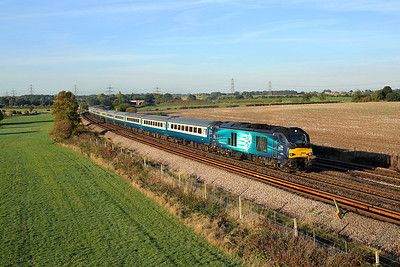 68004 passes Burton Salmon on 1Z44 06:08 Willington - Carlisle charter, 29/09/18 *Taken using a pole