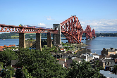 An unidentified HST crosses the Forth bridge at North Queensferry on 1A87 17:10 Haymarket - Aberdeen, 14/07/19