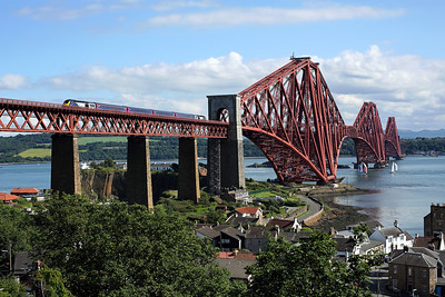 43032 heads away from North Queensferry over the Forth bridge at the rear of 1B74 15:09 Aberdeen - Edinburgh, 14/07/19