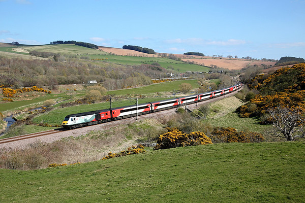 NRM liveried 43238 passes Houndwood on 1S11 10:00 LKX - Aberdeen, 13/04/19