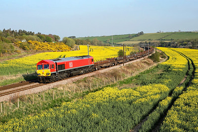 Sporting a fresh coast of DB red, 66105 passes Horseley on 6S58 14:45 Tyne Yard - Dalzell steel, 21/04/19 *Taken using a pole