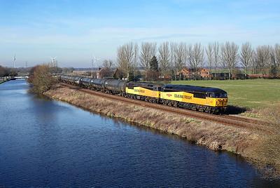 56049 + 56078 pass Godnow Bridge on 6E32 10:02 Colas Ribble Rail - Lindsey empty tanks, 25/02/19