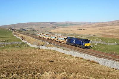 66302 passes Selside Shaw on 6K05 12:46 Carlisle - Crewe engineers, 26/02/19