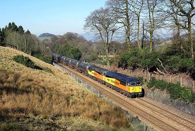 56049 + 56078 pass Holme Chapel on 6E32 10:02 Colas Ribble Rail - Lindsey empty tanks, 26/02/19 *Taken using a pol