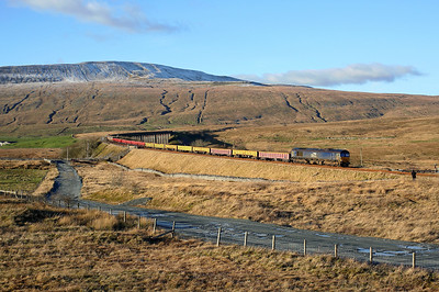 A wonderful place to end a lovely day, 66304 nears Ribblehead on 6K05 12:46 Carlisle - Crewe BH engineers, 17/01/19