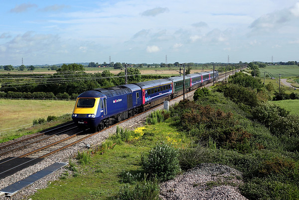 On hire to Hull Trains, 43010 passes Heck Ings on 1A92 08:23 Hull - LKX, 15/06/19 *Taken using a pole