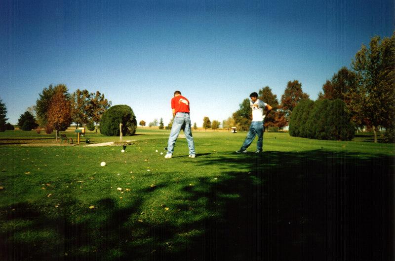 Todd and Cory on the tee at Wahkonsa  ( 2004 )
