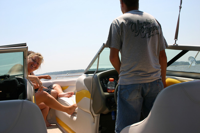 Mary and Todd in the boat at Red Rock Lake  ( 2005 )