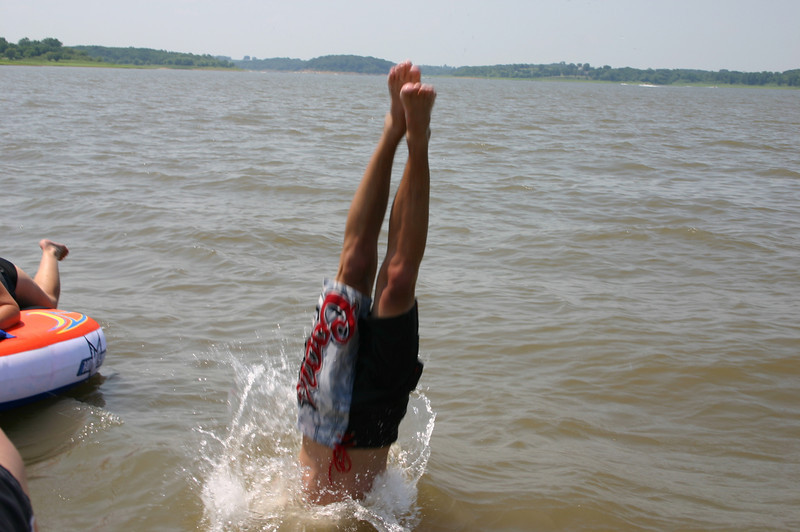 Alex diving into the lake  ( 2005 )