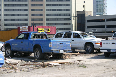 Damaged cars in a parking lot  ( 2006 )