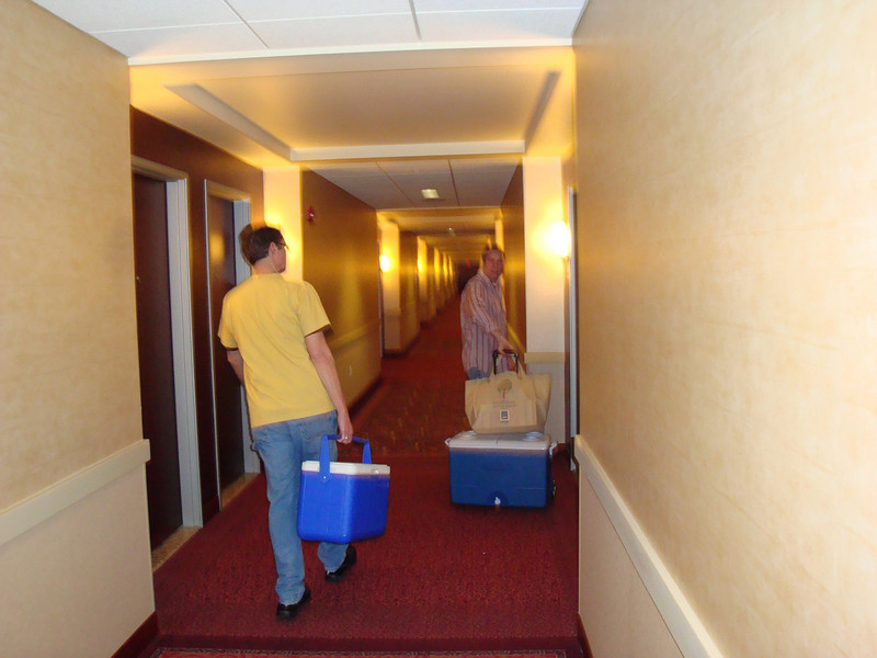 Bruce and Todd arriving at the hotel.  ( 2009 )