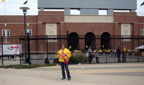 Lori outside Kinnick stadium before the football game ( 2011 )